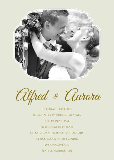 Vintage Glamour Golden Wedding Anniversary Invitation