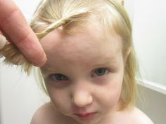 "How to cut little girl bangs: ""This is always great if you have a 2-year-old to perfect this skill on, since they barely know they have a head, much less bangs that are supposed to look decent. And if they're totally screwed up, people will assume they did it to themselves."""