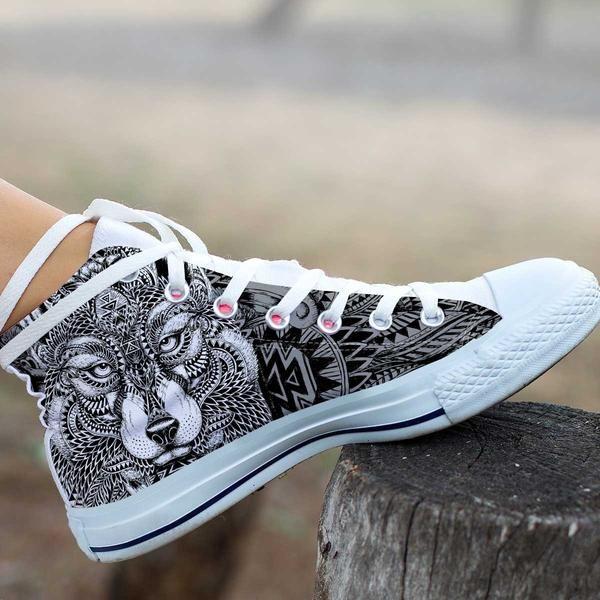 ee2c6b5809 Women's Zentangle Wolf High Top Shoes in 2019 | sharpie ideas ...