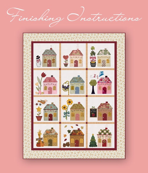 """Free Patterns ~ """"Country Cottages"""" BOM quilt."""