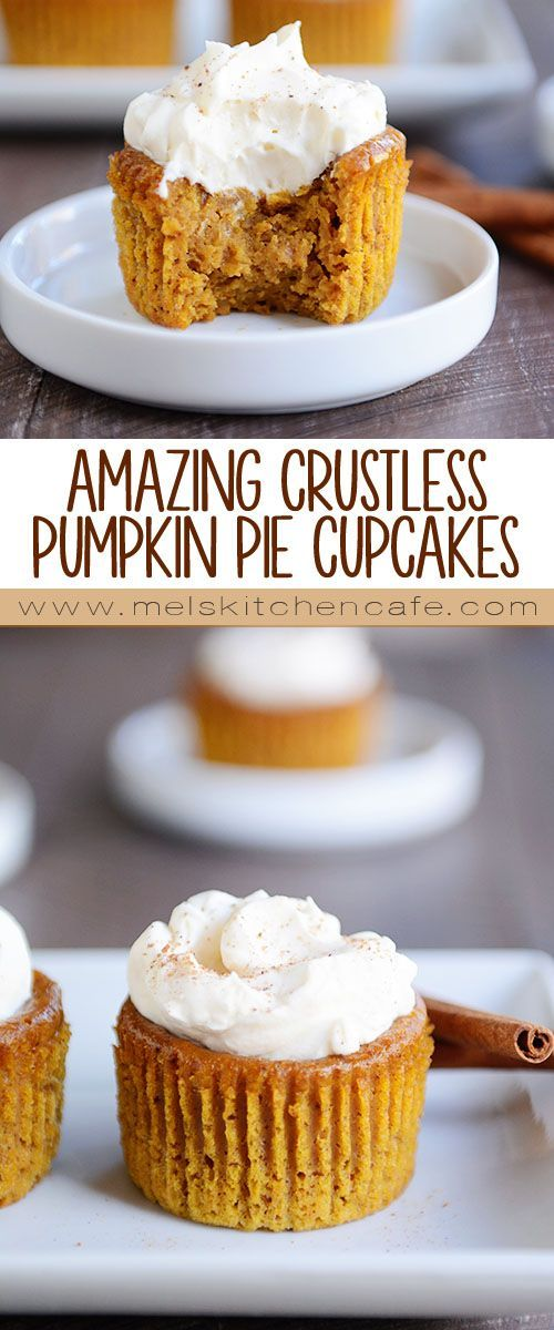 Move on over pumpkin pie, these mini pumpkin pie cupcakes are well-deserving of the Thanksgiving table.
