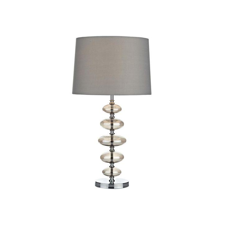 Dar COW4210 Cowley 1 Light Smoked Glass Table Lamp