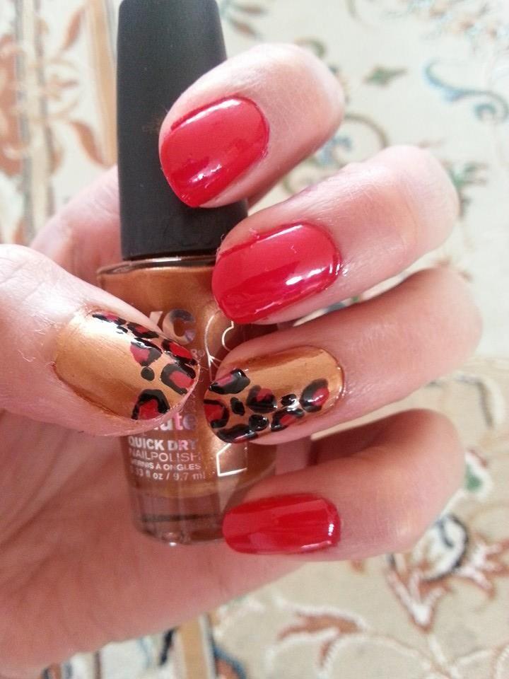 gold, bronze, rood, tijger, nailpolish, nailart, nails https://www.facebook.com/pages/Nail-Art-by-Azi/639473819480093