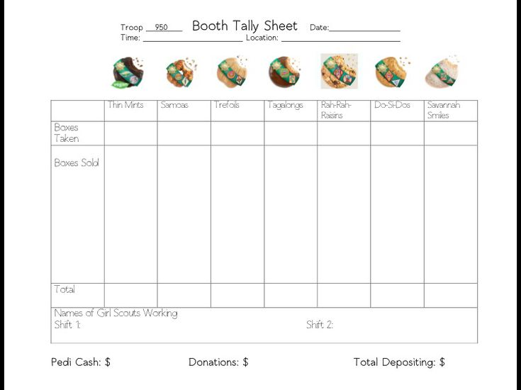girl scout cookies sale tally sheet it may  e in handy