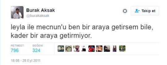 Leyla'nın öldüğü 30. Bölümden sonra Burak Aksak'ın attığı tweet..