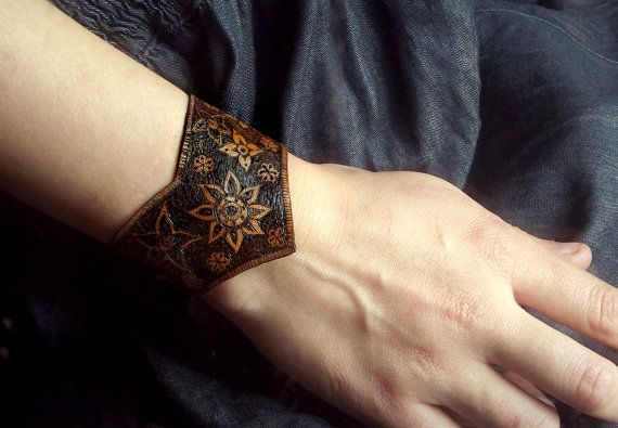 Handmade Leather Cuff with Pyrography design by GlenoutherCrafts