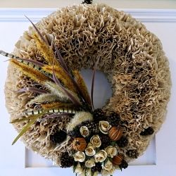 Make a beautiful fall wreath in a couple of hours with unbleached coffee filters.