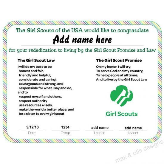 Girl Scout Rededication Certificate with rainbow border ...