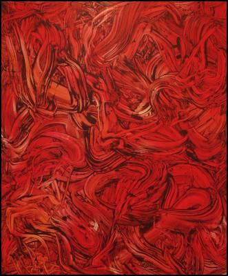 Judy Millar - Red Red Orange #1, oil and acrylic on canvas.