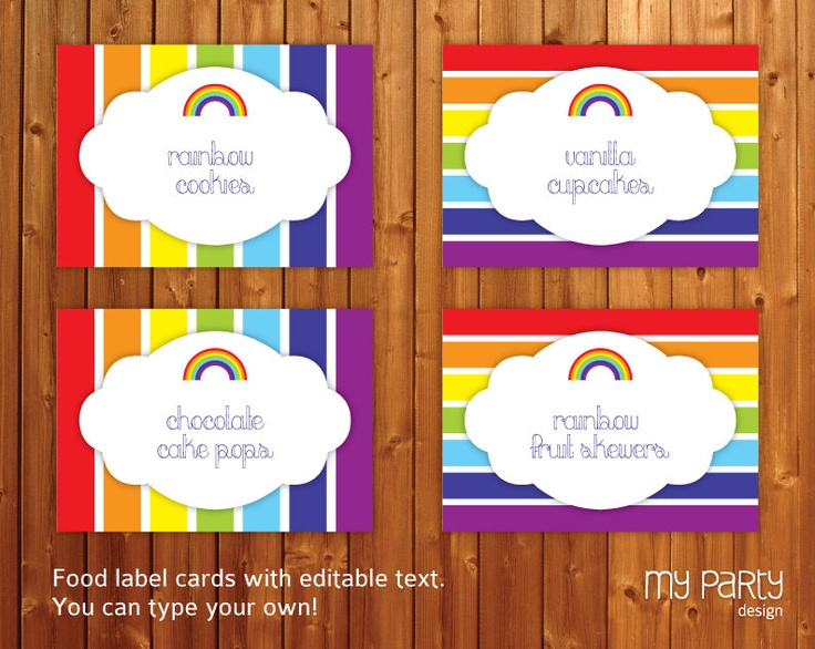 Rainbow Party - PRINTABLE & EDITABLE Food Labels / Cards / Placecards / Tags - blue red yellow green purple orange diy pdf. $7.00, via Etsy.