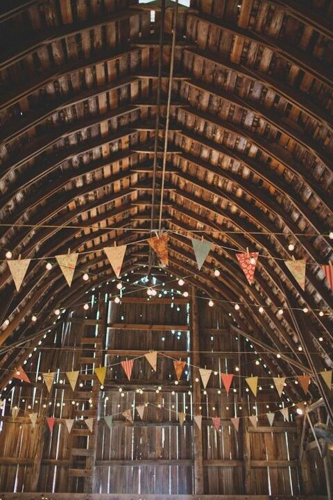 hayloft like ours with pennants & light strings