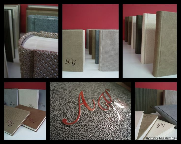 Series of albums. Leather cover with inlaid silver initials. Handmade body. I used Modigliani and Chromatico papers. Size: 35cm x 50cm