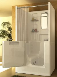 walk in tub & shower. Wonder how leak proof these are. This would be great for mom.