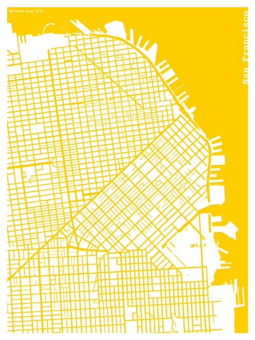 """A good indicator that you love a place when you see a map of it and instinctively yell """"I LOVE SAN FRANCISCO!"""" ... Well, assuming that it's a map of SF."""