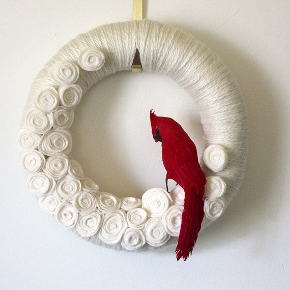 Red Cardinal Yarn Felt Wreath 14 inch by TheBakersDaughter on Etsy