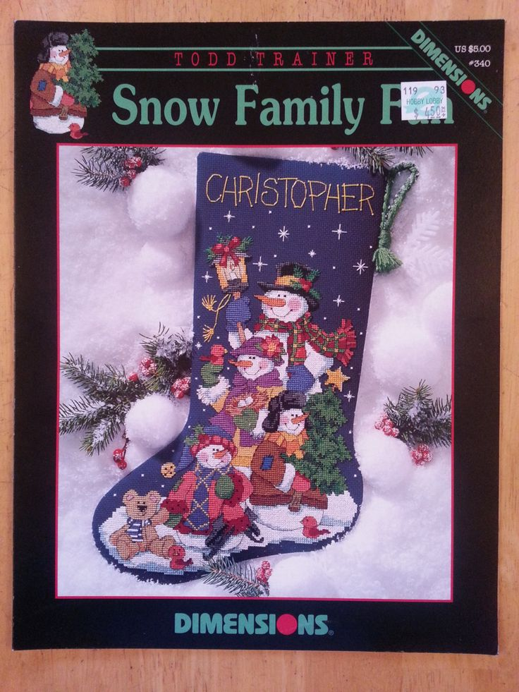 Snow Family Fun Christmas Stocking from Dimensions Cross Stitch leaflet by Todd Trainer by Noahslady4Patterns on Etsy