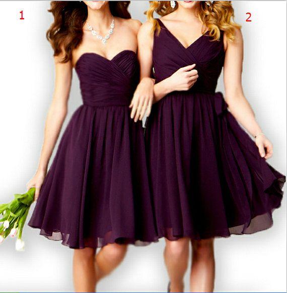Purple bridesmaid dresses chiffon beach by loveBaby2015 on Etsy, $89.00