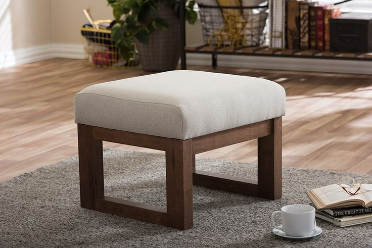 Yashiya Mid-century Retro Modern Light Beige Fabric Upholstered Ottoman Stool