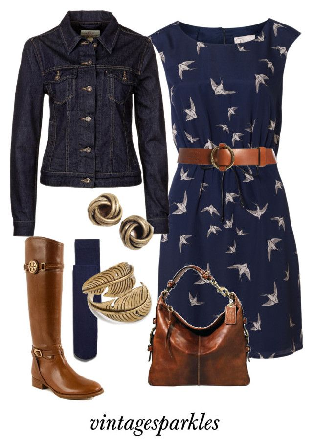 """Fall Swallow Dress"" by vintagesparkles78 ❤ liked on Polyvore featuring Zara, Poem, Lauren Ralph Lauren, Coach, Tory Burch, Levi's and SunaharA"