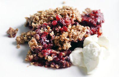 Kerst: Nagerecht: Crumble met rood fruit