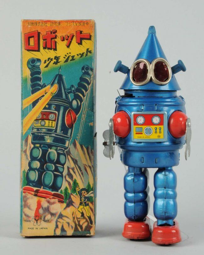 """Japanese Tin Litho """"Cone Head"""" Robot. : Lot 577 n original box. Wind - up. Made in Japan by Yonezawa. Extremely rare box, only a few examples known. Japanese writing on top. Beautiful depiction of robot, complete, no tearing but does have some creasing throughout. Robot itself has some scratching to left side of back. Condition (Excellent). Size 9"""" .Estimate $8,000 – $12,000 Starting Bid $2,000"""