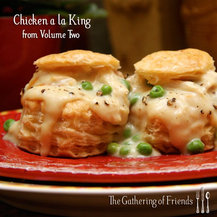 chicken-a-la-king. I'm not vouching for this recipe, but on the great British bake off, Alvin made chicken a la king vol a vents. Sounds pretty good.