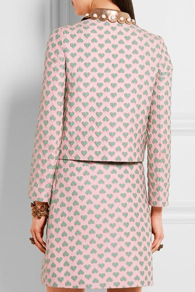 Gucci for NET-A-PORTER - Leather-trimmed Jacquard Jacket - Pastel pink - IT40