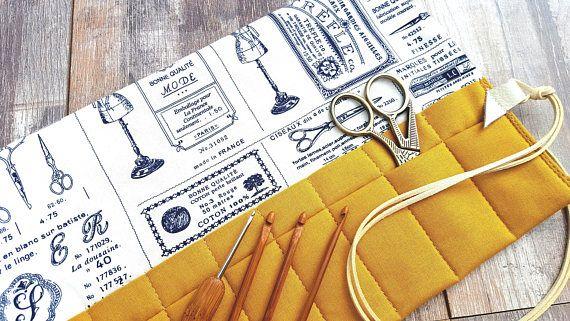 MUSTARD FRENCH CASE Navy Scissors Ivory Knitting Crochet