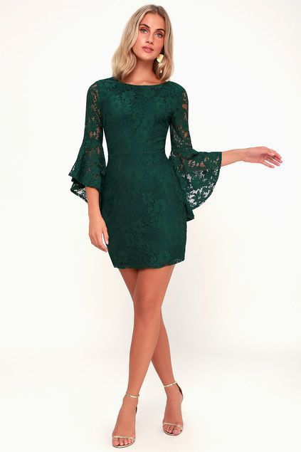 ac9e54f612d ALLURE  EM IN FOREST GREEN LACE FLOUNCE SLEEVE DRESS