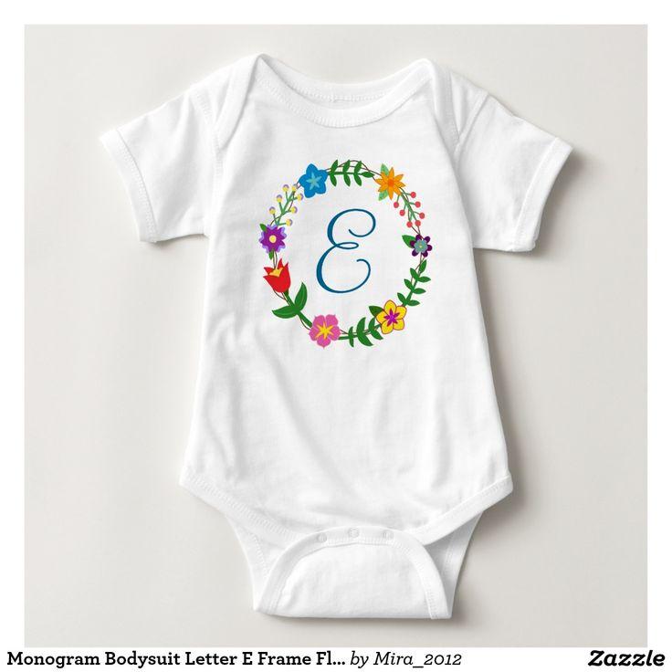 Monogram Bodysuit Letter E Frame Flowers. nice new baby, one-year, or Christmas gift for baby boys whose name starts with E: Ethan, Eric, Erik, Edward, Eduardo, Eddie, Eddison, Eilon, Eugene, Elam, Ezra, Evan, Elliot, Elias, Efrim, Egor, Edgar, Emmett, Emerson, Emmerson, Emilian, Emilio, Edwin, Easton, Earl, Ernestino, Errol, Esteban, Edmund, and so on. There are two types of cursive E letters to choose from, and all the monograms of the English alphabet