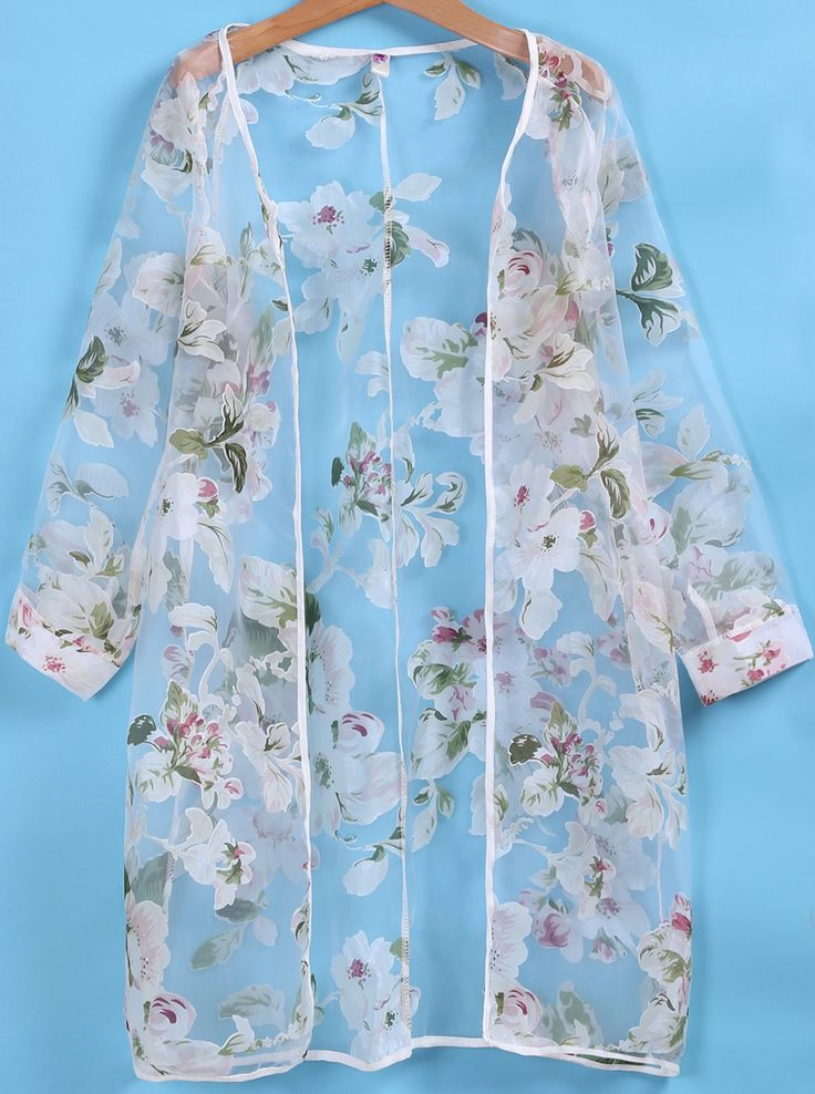 Long Sleeve Florals Organza Coat