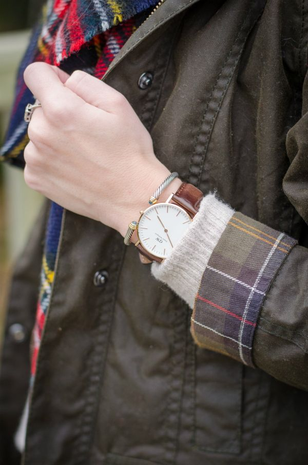 Barbour Jacket, Daniel Wellington Watch, David Yurman Bracelet