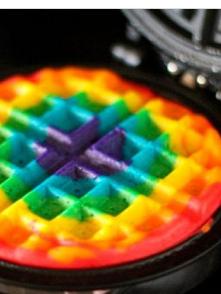 Regenboog wafel