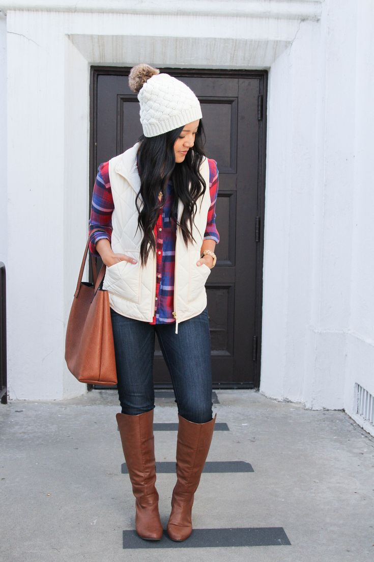 White Hat + White Vest + Red Plaid shirt + Cognac Tote + Riding Boots