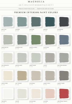 Joanna Gaines' Magnolia Home Paint Line | Rainy Days | Sir Drake | Duke Gray | Weekend | Blackboard | Americana Egg | Silverado Sage | Magnolia Green | Olive Grove | Luxe | One Horn White | Wedding Band | Emmie's Room | Cupola | Weathered Windmill | Carter Creme | Soft Landing | Gatherings | Sunday Stroll | Garden Trowel | True White | Shiplap | Antique Rose | Ella Rose | Vine Ripened Tomato