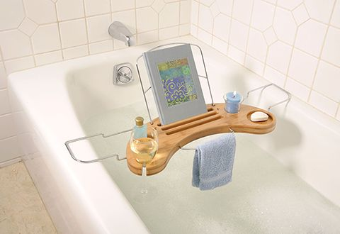 Bamboo Bathtub Caddy (with built in wine and candle holders!)