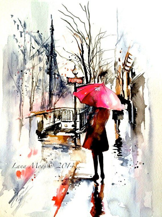 Paris Travel Red Umbrella Watercolor Illustration Parisian Girl