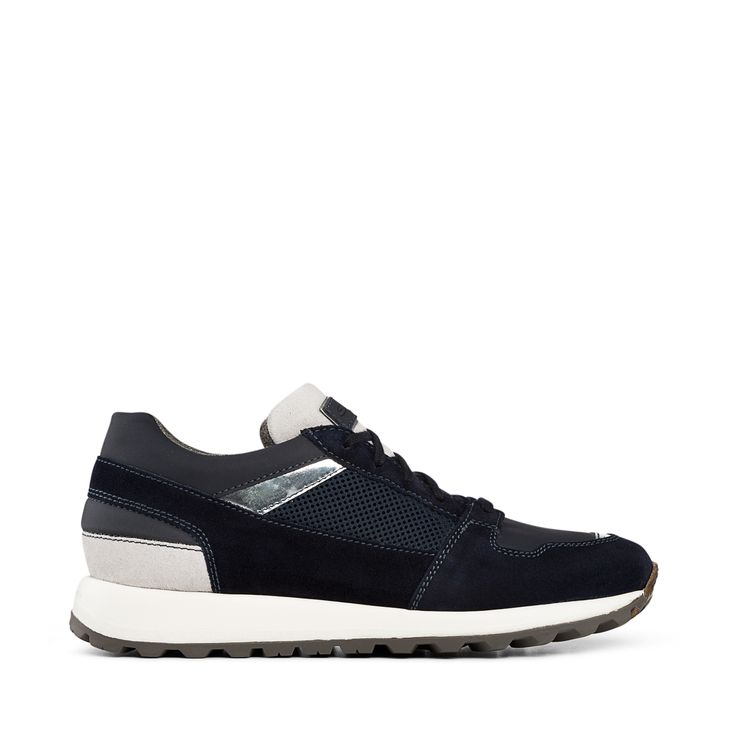 Santoni | Bold sporty sneakers in a unique mix of elegant midnight-blue suede with coordinated leather detailing, and small inserts in silver techno-fabric and blue-fabric. Featuring cleated rubber-soles with natural-rubber edging.