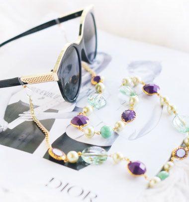 DIY Sunglasses chain - stylish summer craft idea // Nyakba akasztható napszemüveg tartó pánt  - kreatív nyári kiegészítő // Mindy - craft tutorial collection // #crafts #DIY #craftTutorial #tutorial #Beading #BeadCraft #Gyöngyfűzés