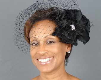 Birdcage Veil Black Short Wedding Bird Cage With Flower