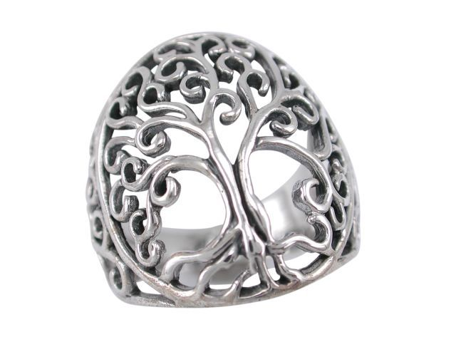 Sterling Silver 25mm Domed Tree Of Life Ring