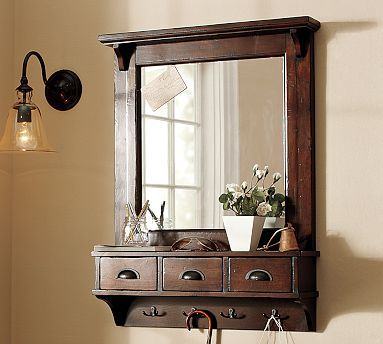 "Wall-Mount Entryway Organizer Mirror - Rustic Mahogany stain #potterybarn    27"" wide x 7.5"" deep x 37.5"" high  Crafted of pine wood with a dark stained finish. Zinc-alloy hardware with a bronze finish."