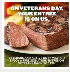 Applebees: Free entree for veterans & military Nov. 11 (Veterans Day 2013)