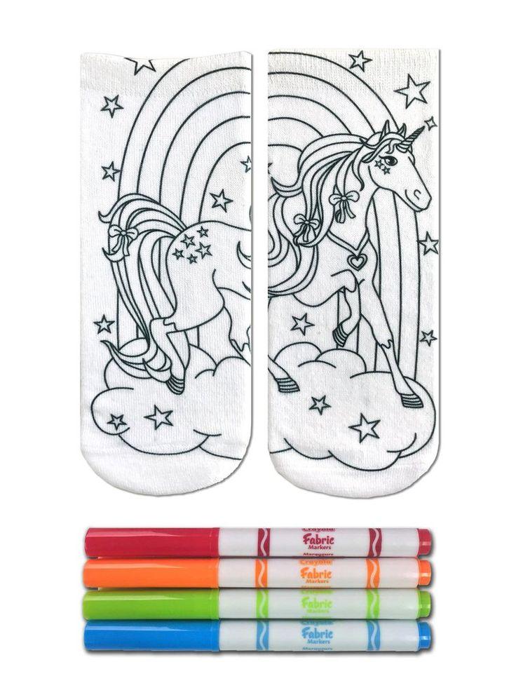 Color-In Socks Unicorn Land