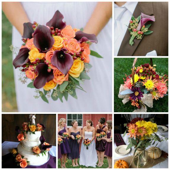 Rustic fall wedding in orange, yellow, purple, burgundy