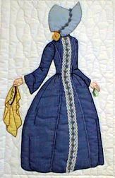 """#1 """"Bonnet Girl Relatives & Friends""""  Annabelle Lee - Two patterns are included in the package. BLOCK ONE.  Pattern $6.50.   Annabelle has two different Victorian dress versions. One has a lace trim down the front (she is holding an embroidery hoop) and the other has a over dress and under skirt. The bonnets are different also."""