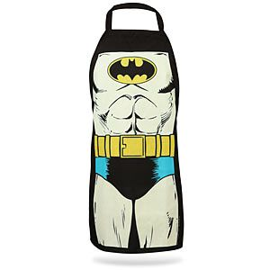 Batman apron. I need a body like Batman when I bake... I will intimidate all of the cupcakes!!