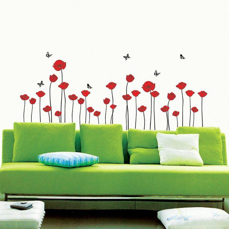 Popular Stickers Fleurs coquelicots rouges HausBlumen WandtattoosBillige