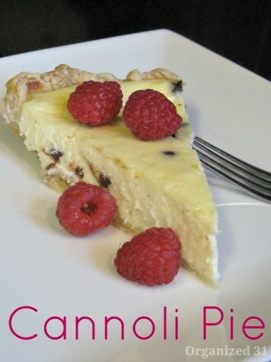 Cannoli Pie - a creamy custard pie - Organized 31  A great dessert recipe you can easily make in your kitchen
