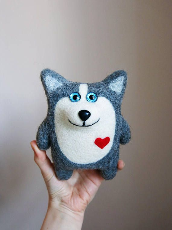Husky Archibald  Felted dog  Decorative toy  Gift for dog